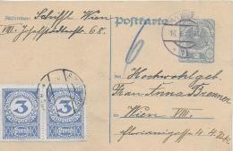 M 1  Postkarte Deutschösterreich 2 Kronen + 6 Kronen Nachporto Um 1922 - Taxe