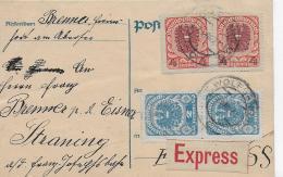 M 1  Postkarte Österreich 2 X 4 Kronen Mit  2 X 2 Kronen Zusatzfrankatur / Express Um 1921 - 1918-1945 1ère République