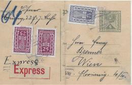M 1  Postkarte Österreich 5 Kronen Mit Zusatzfrankatur  / Express Um 1922 - 1918-1945 1ère République
