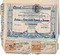 ACT1     00057   ACTION  1880 Signé FERDINAND DE  LESSEPS  CANAL  OCEANIQUE DE PANAMA Timbres  Bons - Navigation