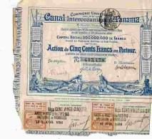 ACT1     00058    ACTION  1880 Signé FERDINAND DE  LESSEPS  CANAL  OCEANIQUE DE PANAMA Timbres  Bons - Navigation