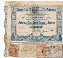 ACT1     00059    ACTION  1880 Signé FERDINAND DE  LESSEPS  CANAL  OCEANIQUE DE PANAMA Timbres  Bons - Navigation