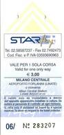 BIGLIETTO   STAR FLY   -  Aeroporto Forlanini >  Milano Centrale  -   Anno 2010. - Europe