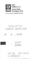 BIGLIETTO  S P T   -  Linea  COMO  > ERBA    Del 23. 10. 2006  -   Anno 2006. - Europa