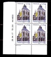 Coin Daté France 2017, Bloc 0.73 € X 4 CD 28.04.17 TD 201 /  2  Traits / Abbatiale De Saint-Benoit-sur-Loire - Dated Corners