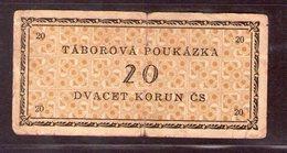Czechoslovakia Prison Camp Voucher  20 Korun Ostrov U Karlových Varu, Very RARE!!!!! - Tchécoslovaquie