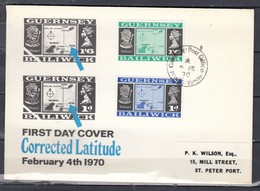 Fdc Guersney - Corrected Latitude - Guernsey Post Offic (4 February 1970) - Guernesey