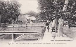 F66-020 PERPIGNAN - Les Passerelles Sur La Basse Et Le Familia Cinéma - Enfants Qui Courrent - Perpignan
