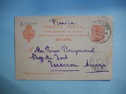 CARTE LETTRE Entier Postal ESPAGNE  Numéroté   -  1916  -  De GERONE à TARASCON - Ariège  - - Lettres & Documents