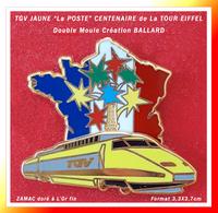 """SUPERBE PIN'S TGV JAUNE """"La POSTE"""" : Création BALLARD Dorée à L'Or Fin DOUBLE MOULE Pour Le CENTENAIRE De La TOUR EIFFEL - TGV"""