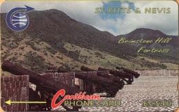 St. Kitts & Nevis - STK-3E, GPT, 3CSKE, Brimstone Hill Fort 3, 40 EC$, 5500ex, 1990, Used As Scan - St. Kitts En Nevis