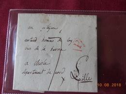 Lettre à Destination De Lille Adressée Au Citoyen Artaud (homme De Loy)  Avec Cachet Rouge - 1792-1815: Départements Conquis