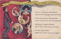 FANTAISIE HUMOUR LES LITANIES DU JEUNE HOMME A MARIER BELLE CARTE RARE !! - Humour