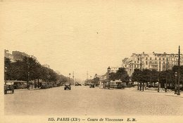 PARIS XX 20 - Cours De Vincennes - Arrondissement: 20