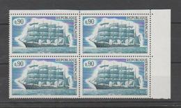 """FRANCE / 1973 / Y&T N° 1762 ** : Voilier 5 Mats """"France II"""" X 4 En Bloc - Gomme D'origine Intacte - Neufs"""