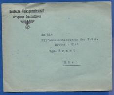 Enveloppe    DEUTCHE VOLKSGEMEINSCHAFT ORTSGRUPPE GROSSHETTINGE   + Aigle Et Croix - 1939-45