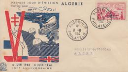 Enveloppe  FDC  1er  Jour  ALGERIE   Anniversaire  Du  Débarquement   1954 - Algerien (1924-1962)