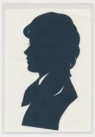 Silhouette Girl,  Fille Original Vintage Hand Made Silouette Siluette 1970s Old Card - Silhouettes