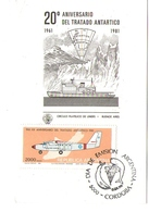 Argentina FDC Anniversario 20 Trattato Antartico Aniversario Tratado 1961 1981 - FDC