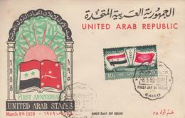 Enveloppe  FDC  1er  Jour   EGYPTE    1er  Anniversaire  De  La  Fédération  Des  Etats   Arabes  Unis  1959 - Égypte