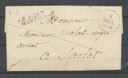 1830 Lettre Marque Linéaire P23P/MONTIGNAC, 36*7, DORDOGNE Superbe X4015 - Poststempel (Briefe)