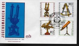 ALLEMAGNE  FDC 1981 Instruments D Optique Historiques Microscope - Astronomie