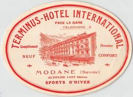 "07409 ""TERMINUS - HOTEL INTERNATIONAL - MODANE SAVOIE"" ETICH. ORIG. LABEL - Adesivi Di Alberghi"