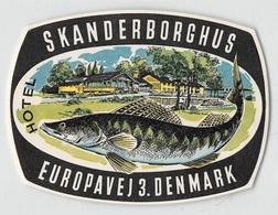 """07410 """"HOTEL SCANDERBORGHUS - EUROPAVEJ 3. DENMARK"""" ETICH. ORIG. LABEL - Hotel Labels"""