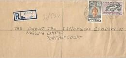 Nigeria 1960 Port Harcourt Ife Bronze Railway Bridge Registered Domestic Cover - Nigeria (...-1960)