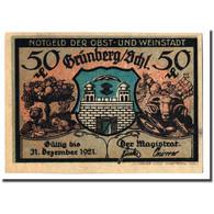 Billet, Allemagne, Grünberg, 50 Pfennig, Batiment, 1921, 1921-12-31, SPL - Allemagne