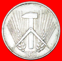 # HAMMER AND COMPASS: GERMANY ★ 10 PFENNIG 1953A! LOW START ★ NO RESERVE! - 10 Pfennig