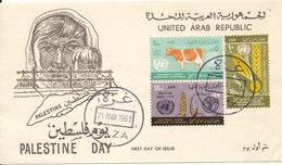 UAR Egypt Palestine Gaza FDC 21-3-1963 Palestine Day Complete Set Of 3 With Cachet - Egypt