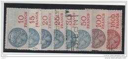 Fiscal, Fiscaux, 8 Timbres N°37,39,41,42,43,45,47,52 . Cote + De 50 € - Fiscaux