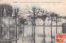 77 LAGNY INONDATIONS DU 26 JANVIER 1910 PLACE DELAMBRE ET QUAI DE MARNE - Lagny Sur Marne