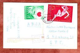 AK Leningrad Alexandersäule, MiF Welt-Herz-Monat U.a., Nach Hamburg 1972 (55786) - 1923-1991 UdSSR