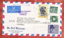 Luftpost, MiF Elefant U.a., Art Museum Delhi, Nach Hattenheim, L 3 Unrichtige Postleitzahl.., 1966 (55789) - Briefe U. Dokumente