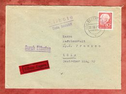 Expres Eilbote Bote Bezahlt, EF Heuss, Regensburg Nach Koeln, Hds Geschlossen, 1960 (55791) - BRD