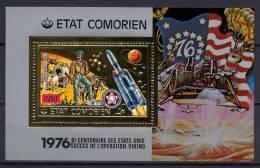 Comoro Islands - Comores 1976 Space, Viking, US Bicentennial Gold S/s MNH -scarce- - Space