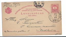 Ung246 / Bahnpost (TPO) Auf Ganzsache Nach Schweden 1899 - Postal Stationery