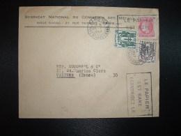 LETTRE TP CERES DE MAZELIN 1F + CHAINES BRISEES 30c + 10c OBL.MEC.25 I 1947 PARIS 108 + SYNDICAT COMMERCE DES METAUX - Unclassified