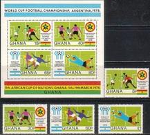 Soccer Football Ghana #746/9 + Bl 76 1978 World Cup Argentina MNH ** - Coupe Du Monde