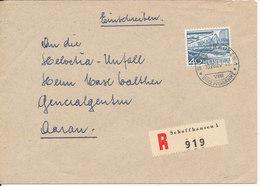 Switzerland Registered Cover Sent To Denmark Schaffhausen 10-8-1957 Single Franked - Switzerland