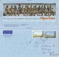 Mauritius 1980 Reduit Landing Of The British Upfranked Aerogramme - Mauritius (1968-...)