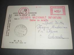 ASTI 1959  EMA ISTITUTO NAZIONALE INFORTUNI  Lire 25 Su Cartolina Affr. Meccanica Rossa - Machine Stamps (ATM)