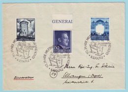 Generalgouvernement Postkarte Mit Sonderstempel Aus Krakau Mit 66, 83 Und 108 (MiF) - Occupation 1938-45