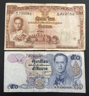 Thaïlande Billet 10 Et 50 Baht - Thaïlande