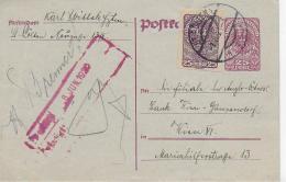 M 1  Ganzsache Österreich 25 Heller Mit 25 Heller Posthorn Als Zusatzfrankatur Um 1920 - 1918-1945 1. Republik