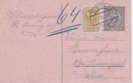 M 1  Ganzsache Österreich 70 Heller Mit 15 Heller Posthorn Als Zusatzfrankatur Um 1920 - 1918-1945 1ère République