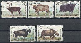 Laos 1990, Tiere, Pflanzenfresser, Animals, Animaux, Büffel, Michel 1227 - 1231, ** (L-27) - Laos