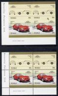 2240 Tuvalu 1985 55c Ferrari Unmounted Mint Imperf Corner Block Of 4 (2 Se-tenant Pairs) With Matched Normal (cars) Perf - Tuvalu